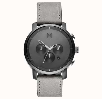 MVMT Crono 45mm monocromo | correa de cuero gris | esfera gris D-MC01-BBLGR
