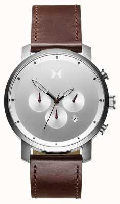 MVMT Chrono 45mm plata marrón | correa marrón | esfera plateada D-MC01-SBRL