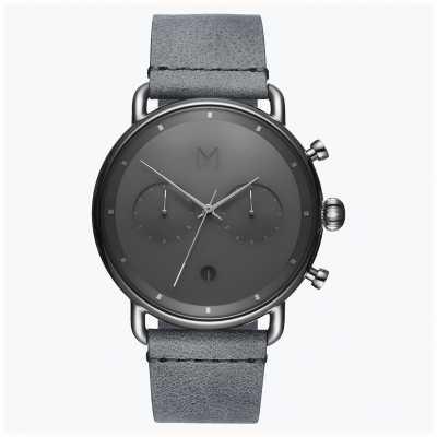 MVMT Blacktop plata niebla | correa de cuero gris | esfera gris D-BT01-SGR