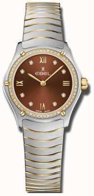 EBEL Clásico deportivo de mujer | esfera marrón | conjunto de diamantes | inoxidable 1216443A