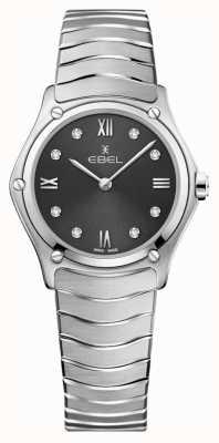 EBEL Clásico deportivo de mujer | esfera gris | conjunto de diamantes | inoxidable 1216416A