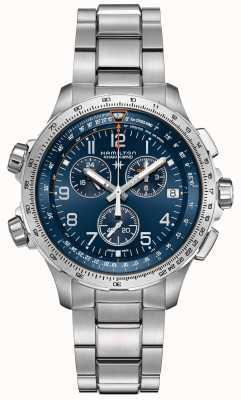 Hamilton | khaki aviación x-wind gmt | esfera azul | acero inoxidable H77922141