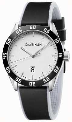 Calvin Klein El | hombres | competir | correa de caucho negro | esfera plateada | K9R31CD6