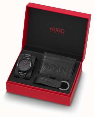 HUGO #rase | set de regalo | llavero | titular de la tarjeta | pulsera ip negra 1570096