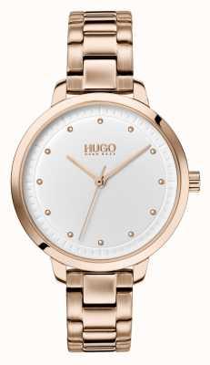 HUGO #achieve | pulsera de oro rosa ip | esfera blanca 1540037