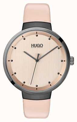 HUGO #go | correa de cuero rosa | esfera de oro rosa 1540001