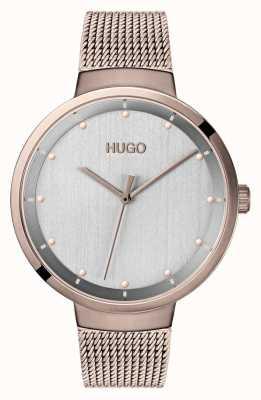 HUGO #go | malla de oro rosa ip | esfera gris 1540004