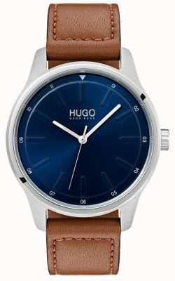 HUGO #dare | correa de cuero marrón | esfera azul 1530029