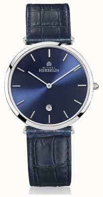Michel Herbelin | mens | epsilon | correa de cuero azul | esfera azul | 19406/15BL
