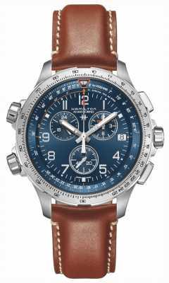 Hamilton | aviación caqui x-wind gmt | esfera azul | cuero marrón | H77922541