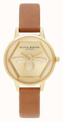 Olivia Burton El   3d reloj de caridad abeja   correa vegana marrón claro   OB16AM167
