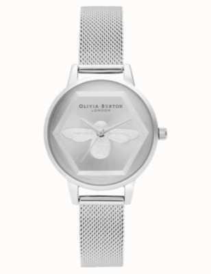 Olivia Burton El | 3d reloj de caridad abeja | pulsera de malla plateada l OB16AM168