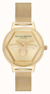 Olivia Burton El   3d reloj de caridad abeja   pulsera de malla de oro amarillo   OB16AM169