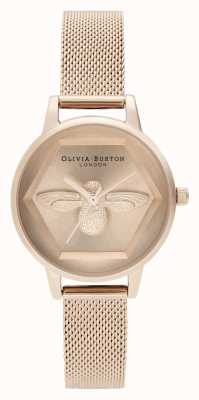 Olivia Burton El | 3d reloj de caridad abeja | pulsera de malla de oro rosa | OB16AM170