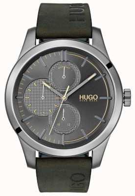HUGO #descubrir | correa de cuero verde | esfera gris 1530084
