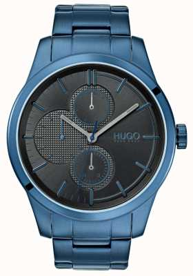 HUGO #descubrir | pulsera ip azul | esfera negra | 1530086
