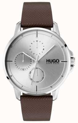 HUGO #focus | correa de cuero marrón | esfera plateada 1530023