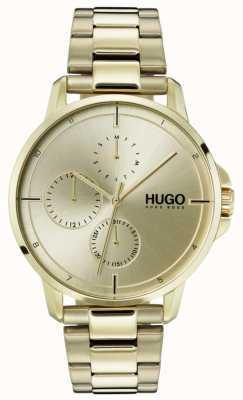 HUGO #focus | pulsera ip de oro | esfera dorada 1530026