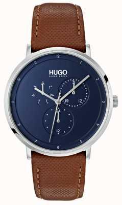 HUGO #guía | correa de cuero marrón | esfera azul 1530032