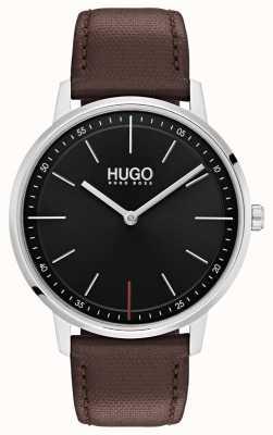 HUGO #exist | correa de cuero marrón | esfera negra 1520014