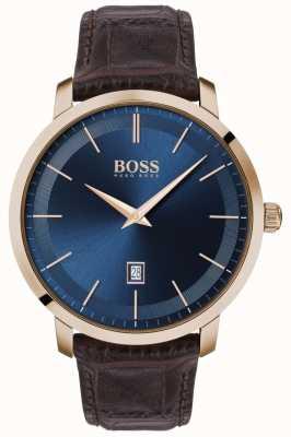 Boss El | clásico premium para hombre | correa de cuero marrón | esfera azul | 1513745