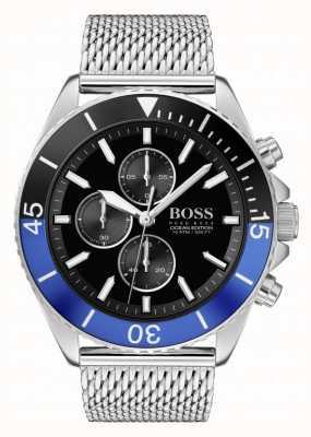 Boss El | edición oceánica masculina | pulsera de malla de acero | esfera negra | 1513742
