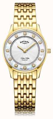 Rotary El | chapado en pvd dorado ultra delgado para mujer | esfera de madreperla LB08303/41/D