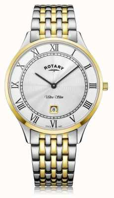 Rotary El | ultra delgado para hombre | acero inoxidable bicolor | esfera blanca | GB08301/01