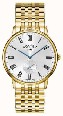 Roamer El | galaxia masculina | acero inoxidable chapado en oro | esfera blanca | 620710-48-15-50