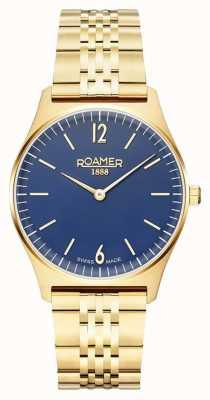 Roamer El | elementos de mujer | acero inoxidable chapado en oro | esfera azul 650815-48-45-50
