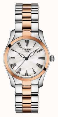 Tissot | t-wave | pulsera de dos tonos para mujer | esfera de nácar | T1122102211301