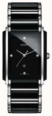 Rado Diamantes integrales de alta tecnología de cerámica reloj cuadrado negro R20206712
