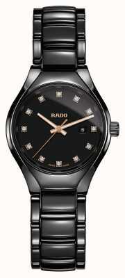 Rado Verdaderos diamantes plasma alta tecnología cerámica esfera negra reloj R27059732