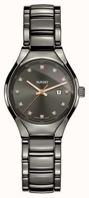 Rado Verdaderos diamantes plasma alta tecnología cerámica gris esfera reloj R27060732