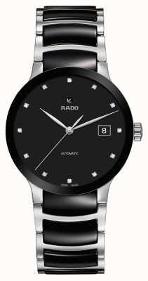 Rado Reloj automático de cerámica negra con diamantes Centrix R30941752