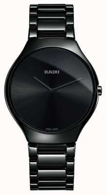 Rado Verdadero reloj de línea fina de cerámica negra de alta tecnología. R27741182