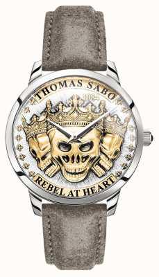 Thomas Sabo El | espíritu rebelde de los hombres cráneos 3d | esfera de oro | correa de cuero | WA0356-273-207-42