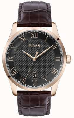 Boss El | maestro de hombres | correa de cuero marrón | esfera gris | 1513740