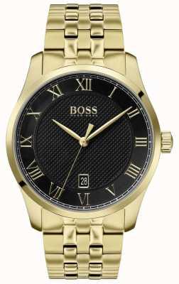 BOSS Maestro | pulsera de oro pvd | esfera negra | 1513739