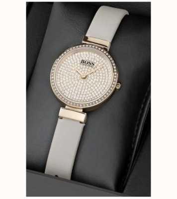 Boss Conjunto de reloj y pulsera de cristal de cuero para mujer 1570094