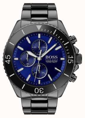 Boss El | edición oceánica masculina | acero inoxidable negro | esfera azul | 1513743