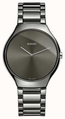 Rado Verdadero reloj de pulsera de cerámica gris de línea fina reloj de esfera gris R27955122