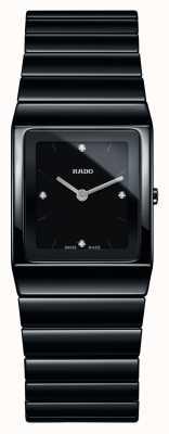 Rado Reloj de pulsera de cerámica negra con esfera cuadrada de diamantes de cerámica R21702702
