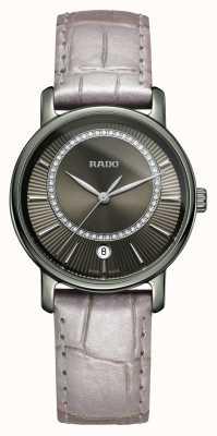 Rado Diamaster diamonds correa de cuero gris reloj esfera gris R14064715