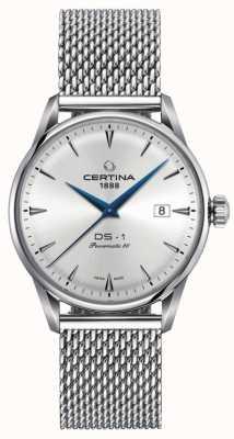 Certina El | ds-1 powermatic 80 | pulsera de malla de plata | esfera plateada | C0298071103102