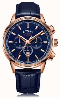 Rotary El | cronógrafo cambridge para hombre | esfera azul | cuero azul | GS05399/05
