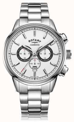 Rotary El | cronógrafo cambridge para hombre | esfera blanca | acero inoxidable GB05395/02