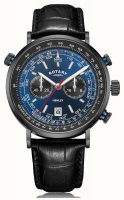 Rotary El | cronógrafo henley para hombre | esfera azul | correa de cuero negro GS05238/05