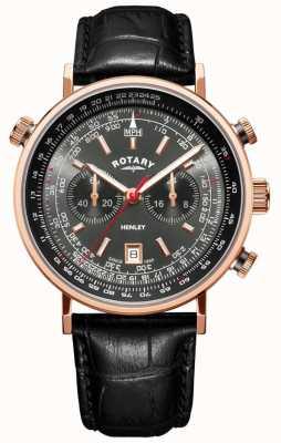 Rotary El | cronógrafo henley para hombre | esfera gris | cuero negro | GS05237/20