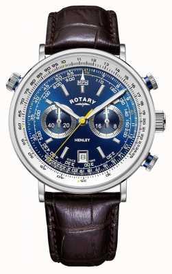 Rotary El | cronógrafo henley para hombre | esfera azul | correa de cuero marrón GS05235/05